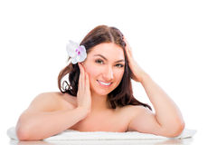 Well-groomed woman at a spa Stock Photo