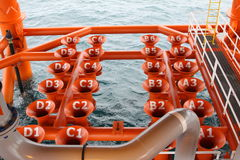 Well head slot on the platform or rig. Oil and Gas Producing Slots at Offshore Platform, Oil and Gas Industry. Well head slot on the platform or rig. Production Stock Photo