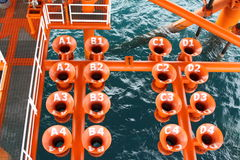 Well head slot on the platform or rig. Oil and Gas Producing Slots at Offshore Platform, Oil and Gas Industry. Well head slot on the platform or rig. Production Royalty Free Stock Images