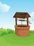 Well on a hill. Illustration of a well on a hill Stock Images