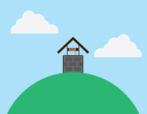 Well Hill. Well on top of a large hill royalty free illustration