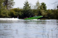 Well, Holland - 07/23/2018: Boating with speed stock photo