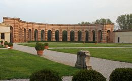 Well-kept garden of PALAZZO TE in Mantua in Italy Royalty Free Stock Photos