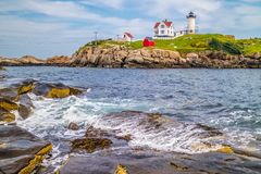 A well known Cape Neddick Light in York, Maine stock photography