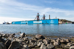 Well-known landmark in Goteborg, the dry dock is leaving Goteborg after being sold to France. Royalty Free Stock Image