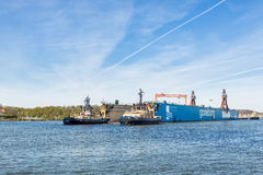Well-known landmark in Goteborg, the dry dock is leaving Goteborg after being sold to France Royalty Free Stock Photo