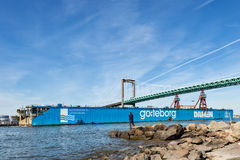 Well-known landmark in Goteborg, the dry dock is leaving Goteborg after being sold to France Royalty Free Stock Photos