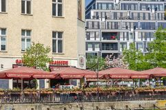 Well known location Ganymed Brasserie in the center of the city. Berlin, Germany - April 22, 2018: Well known location Ganymed Brasserie, bar and restaurant with Royalty Free Stock Photo