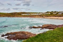 Famous surfer´s paradise in Polzeath, North of Cornwall stock photos