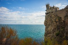 Well-known Swallow`s Nest castle on rock at Black Sea, Crimea, R. Well-known Swallow`s Nest castle on rock at Black Sea in Crimea in Russia stock photos