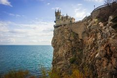Well-known Swallow`s Nest castle on rock at Black Sea, Crimea, R. Well-known Swallow`s Nest castle on rock at Black Sea in Crimea in Russia royalty free stock images
