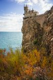 Well-known Swallow`s Nest castle on rock at Black Sea, Crimea, R. Well-known Swallow`s Nest castle on rock at Black Sea in Crimea in Russia stock photography