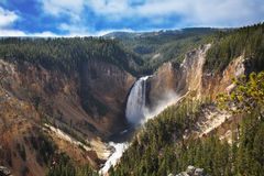The well-known Yellowstone falls Stock Photo