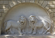 Well with lions in Festetics Castle garden. Keszthely, Hungary. Stock Photo