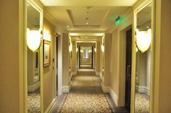 Well-lit hotel corridor Royalty Free Stock Image