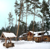 Well and a log house in a pine forest near the village of Arkhangelsk (Russia, Ulyanovsk region) on a winter day royalty free stock photos
