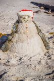 A well made decorative snowman along the shore of Brandeton, Florida royalty free stock images