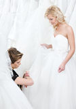 Well made-to-measure wedding gown. Seamstress try to make a well made-to-measure wedding gown stock photography