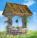 Well on a meadow. Illustration of a well on a meadow at a bright summerday vector illustration
