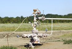 Well for oil and gas production. Oil well wellhead equipment. Oil production Stock Image