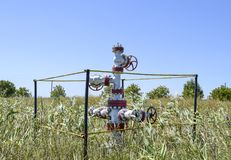 Well for oil and gas production. Oil well wellhead equipment. Oil production Stock Photo