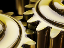 Well-Oiled Cogwheels in Oil Film Closeup 3d Illustration Stock Photos