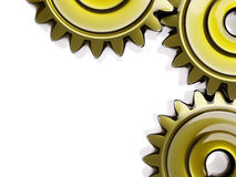 Well-Oiled Cogwheels in Oil Film Closeup 3d Illustration Stock Images