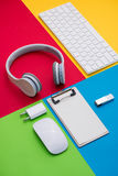 Well organised white office objects on colorful background Royalty Free Stock Image