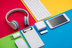 Well organised white office objects on colorful background Royalty Free Stock Photography