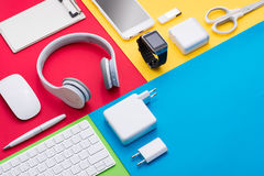 Well organised white office objects on colorful background Stock Image