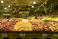 Large supermarket with plenty of vegetables Royalty Free Stock Photo