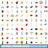 100 well person icons set, cartoon style. 100 well person icons set in cartoon style for any design vector illustration royalty free illustration