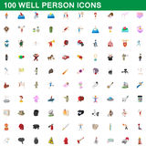 100 well person icons set, cartoon style. 100 well person icons set in cartoon style for any design vector illustration stock illustration
