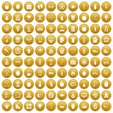 100 well person icons set gold. 100 well person icons set in gold circle isolated on white vector illustration Stock Image