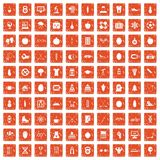 100 well person icons set grunge orange. 100 well person icons set in grunge style orange color isolated on white background vector illustration Stock Photos