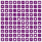 100 well person icons set grunge purple. 100 well person icons set in grunge style purple color isolated on white background vector illustration Stock Photos
