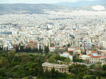 The Well-preserved Doric Temple of Hephaestus and Athens Cityscape as Seen from the Acropolis, Athens Stock Photos