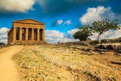 Well-preserved Greek ruins of Concordia Temple Royalty Free Stock Images
