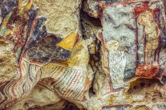 Medieval frescoes. Well-preserved medieval frescoes of Rock-hewn Churches of Ivanovo in Bulgaria - A UNESCO World Heritage Site royalty free stock photo