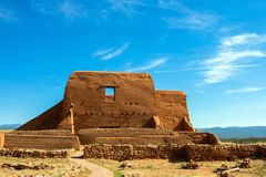 Historic mission church in Pecos National Historical Park in northern New Mexico. The well-preserved walls of a Spanish mission church, built in 1717, is royalty free stock image