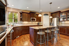 Well remodeled kitchen room interior with dark wood cabinets Stock Photos
