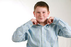 Well Rounded. Portrait of husky boy with freckles in dress shirt Royalty Free Stock Photography