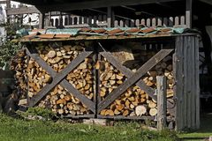 Well seasoned firewood, ovenwood Royalty Free Stock Images