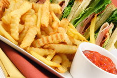Well served club sandwich. Healthy and delicious fresh made club sandwich fries and ketchup Stock Photography