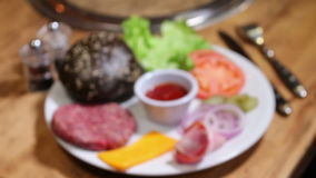 Well Served Set for cooking hamburger stock footage