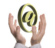 Well shaped businessman hand holding email symbol Royalty Free Stock Photos