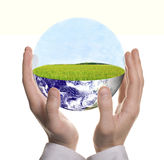 Well Shaped Businessman Hand With Green Earth Royalty Free Stock Photo