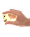 Well shaped male hand with usd gold symbol Royalty Free Stock Photo