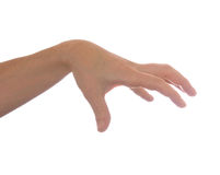 Well shaped men hand reaching for something isolated Stock Photography