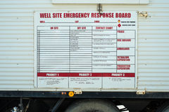 Well Site Emergency Response Board Stock Photo